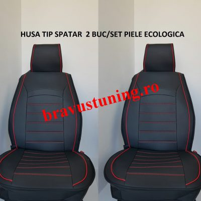 Huse scaun 2 piese PIELE ECOLOGICA Negru +Rosu