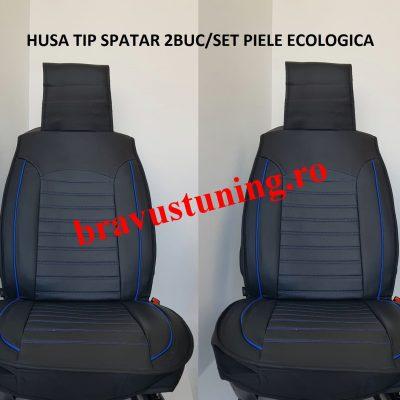 Huse scaun 2 piese PIELE ECOLOGICA Negru+Albastru