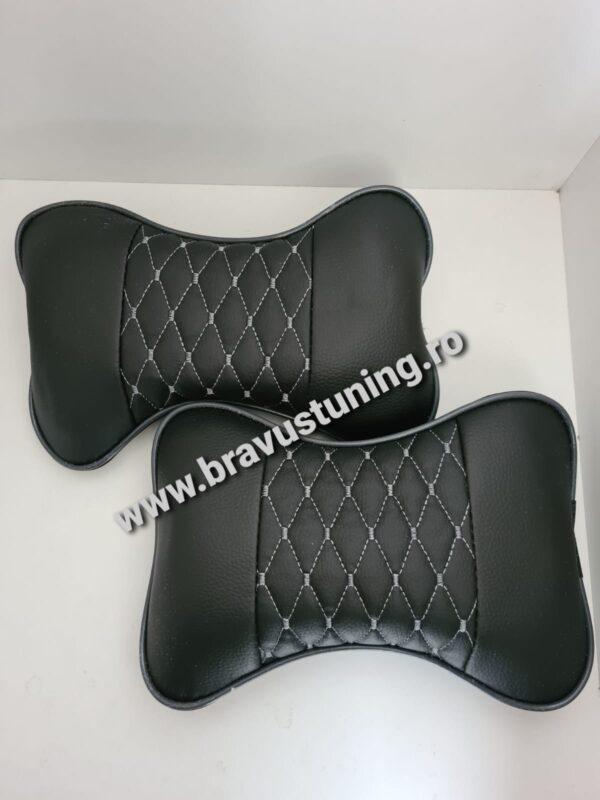 Set perne tetiera auto Piele Ecologica Confort Negru+gri